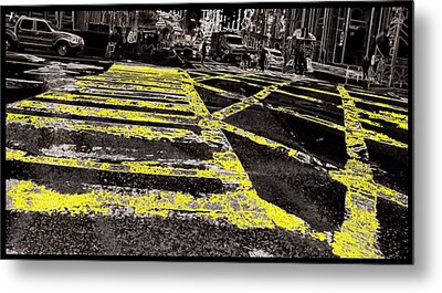 Crosswalks In New York City Metal Print by Dan Sproul