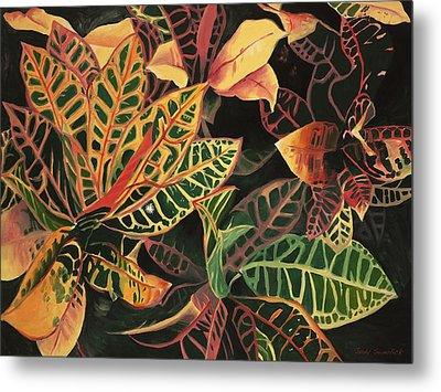 Croton Leaves Metal Print by Judy Swerlick