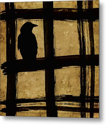 Crow And Golden Light Number 1 Metal Print