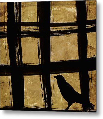 Crow And Golden Light Number 2 Metal Print by Carol Leigh