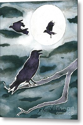 Crow Moon Metal Print by D Renee Wilson