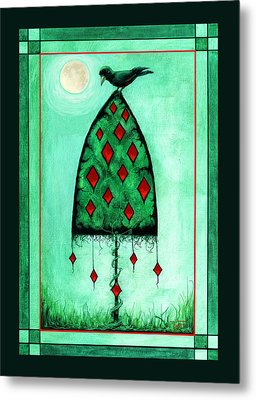Metal Print featuring the mixed media Crow Dreams by Terry Webb Harshman