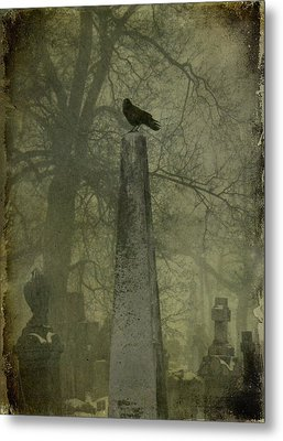 Crow On Spire Metal Print by Gothicrow Images