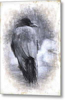 Crow Sketch Painterly Effect Metal Print by Carol Leigh