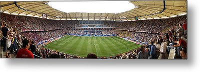 Crowd In A Stadium To Watch A Soccer Metal Print by Panoramic Images