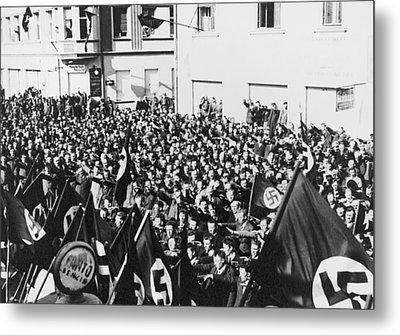 Crowd In Oberwart, Austria, Saluting Metal Print by Everett