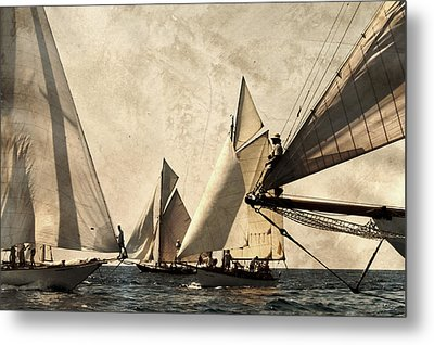 A Vintage Processed Image Of A Sail Race In Port Mahon Menorca - Crowded Sea Metal Print