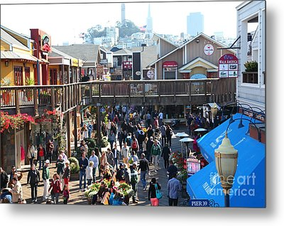 Crowds At Pier 39 San Francisco California 5d26093 Metal Print by Wingsdomain Art and Photography