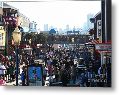 Crowds At Pier 39 San Francisco California 5d26134 Metal Print by Wingsdomain Art and Photography