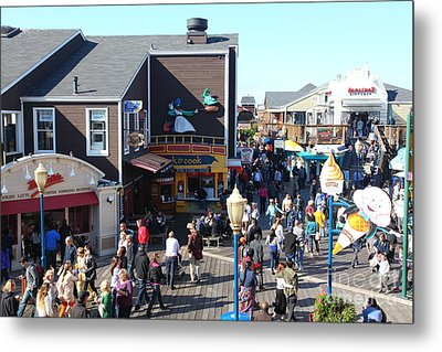 Crowds At Pier 39 San Francisco California 5d26135 Metal Print by Wingsdomain Art and Photography