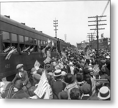 Crowds Cheer Ny Train Service Metal Print by Underwood Archives