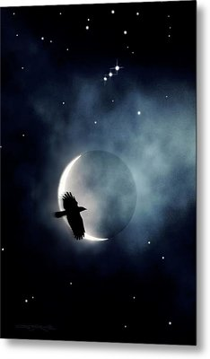 Crowmoon And Orion Metal Print