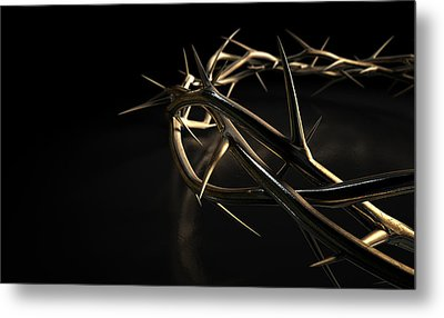 Crown Of Thorns Gold On Black Metal Print by Allan Swart