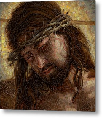 Crown Of Thorns Glass Mosaic Metal Print by Mia Tavonatti