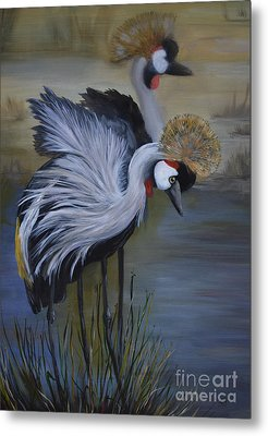 Crowned Cranes Metal Print by Nancy Bradley