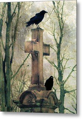 Urban Graveyard Crows Metal Print