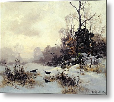 Crows In A Winter Landscape Metal Print by Karl Kustner