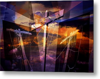 Crucifixion Crosses Composition From Clotheslines Metal Print by Randall Nyhof