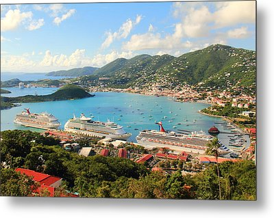 Cruise Ships In St. Thomas Usvi Metal Print by Roupen  Baker