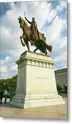 Crusader King Louis Ix Statue In Front Metal Print