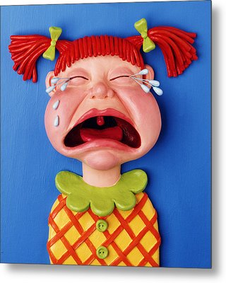 Crying Girl Metal Print