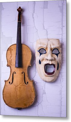 Crying Mask With Violin Metal Print by Garry Gay