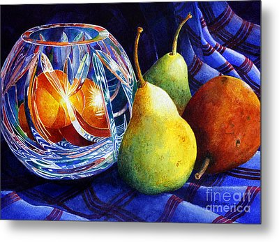 Crystal And Pears Metal Print