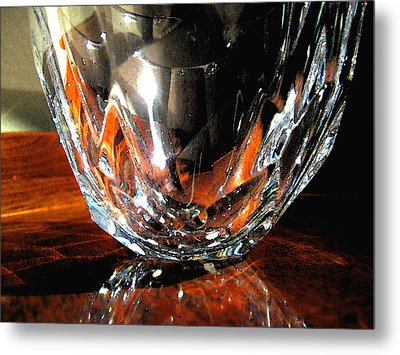 Metal Print featuring the photograph Crystal Bowl With Watercolor Filter by Mary Bedy