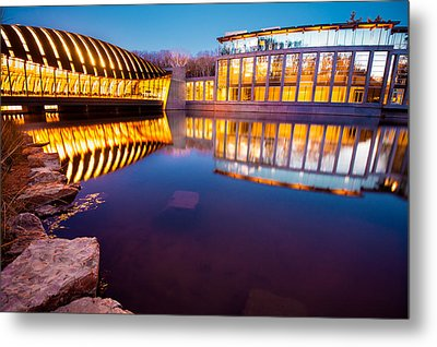 Crystal Bridges Art Museum Reflections Metal Print by Gregory Ballos