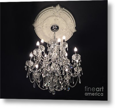Crystal Chandelier - Paris Black And White Chandelier - Sparkling Elegant Chandelier Opulence Metal Print by Kathy Fornal