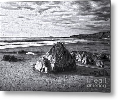 Metal Print featuring the painting Crystal Cove Sea Shore - Black And White by Gregory Dyer