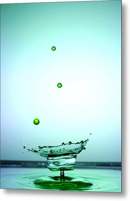 Crystal Cup Water Droplets Collision Liquid Art 4 Metal Print