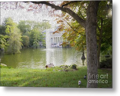 Crystal Palace In Retire's Park Oleo Metal Print