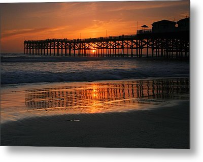 Crystal Pier Sunset Metal Print