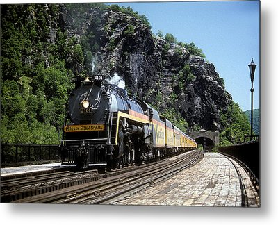 Metal Print featuring the photograph Chessie Steam Special At Harpers Ferry by ELDavis Photography