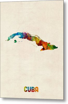 Cuba Watercolor Map Metal Print