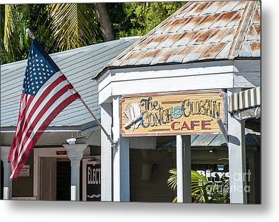 Cuban Cafe And American Flag Key West Metal Print by Ian Monk