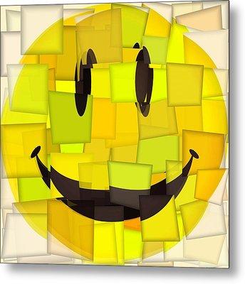 Cubism Smiley Face Metal Print