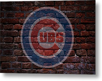 Cubs Baseball Graffiti On Brick  Metal Print by Movie Poster Prints