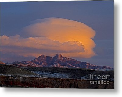 Cumulus Cloud Cap Over Heart Mountain   #2022 Metal Print by J L Woody Wooden