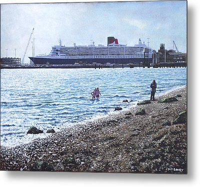 Cunard Queen Mary As Seen From Weston Shore Metal Print by Martin Davey
