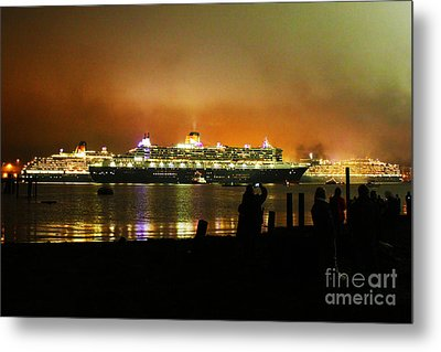 Metal Print featuring the photograph Cunard's 3 Queens by Terri Waters