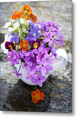 Cup Full Of Wildflowers Metal Print by Edward Fielding