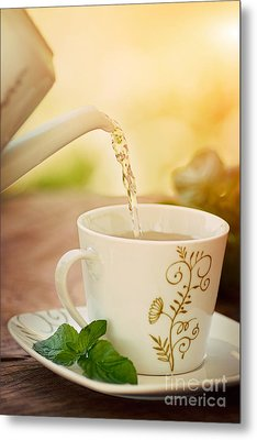 Cup Of Tea Metal Print by Mythja  Photography