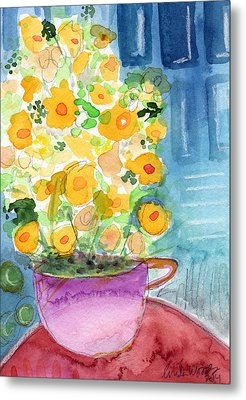 Cup Of Yellow Flowers- Abstract Floral Painting Metal Print by Linda Woods