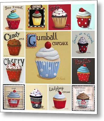 Cupcake Collage Metal Print by Catherine Holman
