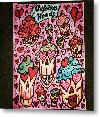 Cupcake Heads Metal Print by Stephanie Bucaria