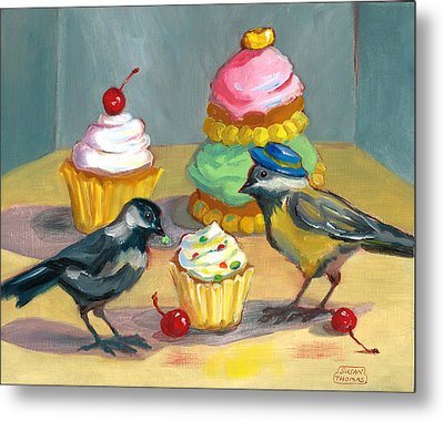 Cupcakes And Chickadees Metal Print by Susan Thomas