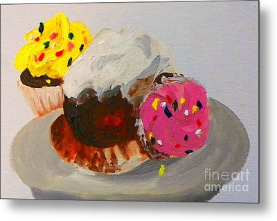 Metal Print featuring the painting Cupcakes by Marisela Mungia