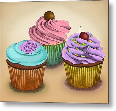 Cupcakes Metal Print by Meg Shearer